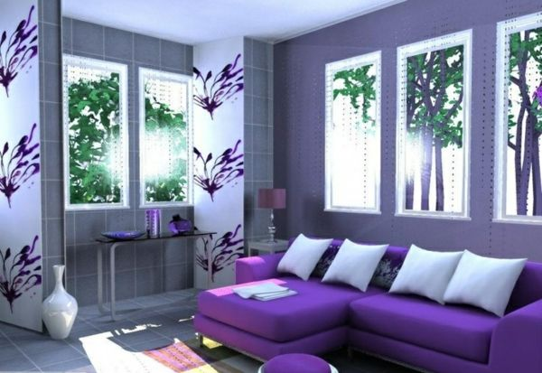 Light Purple Accent Wall In Living Room With Sectional Sleeper Sofa