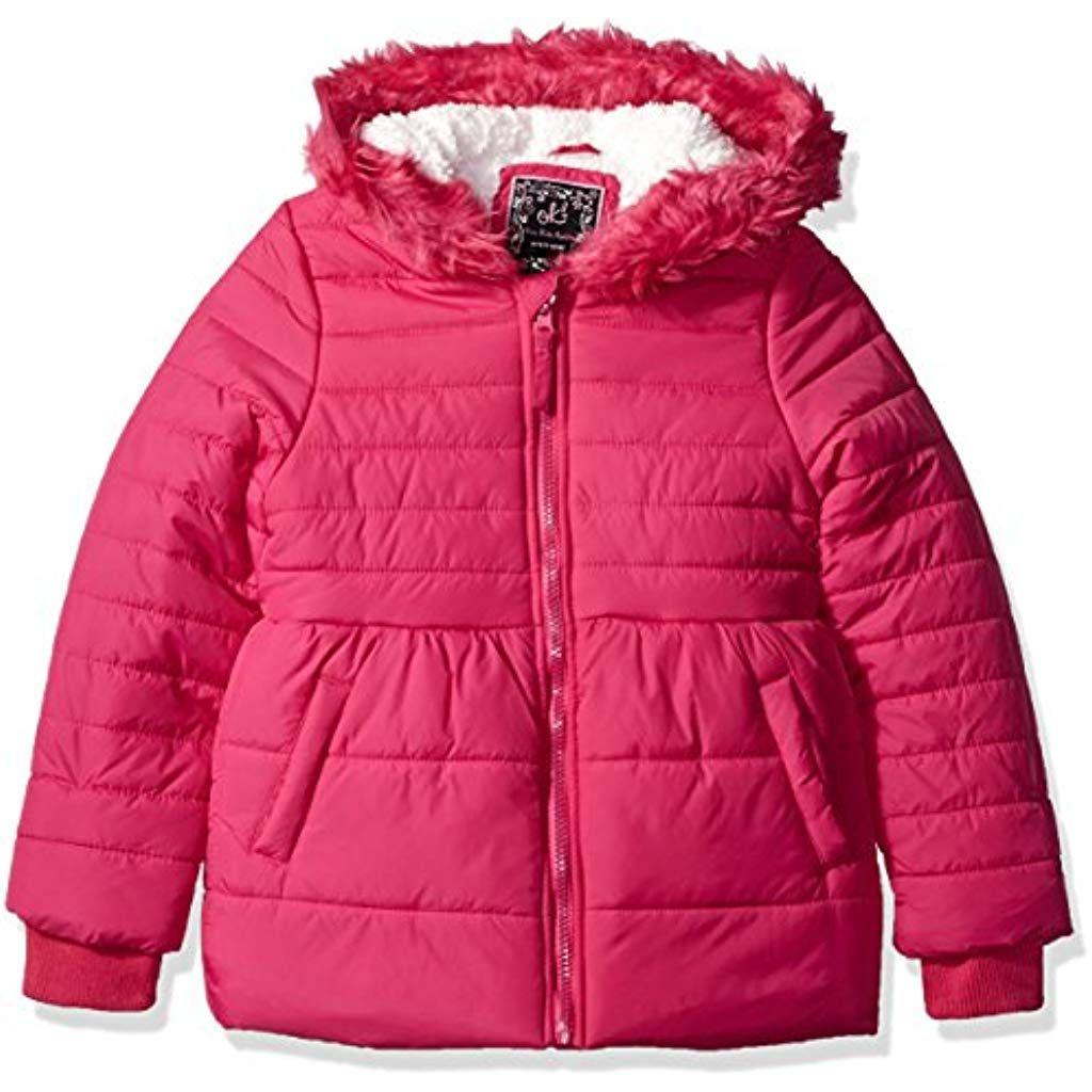 Phorecys Boys Winter Padded Jacket Coat with Faux Fur Hood Black