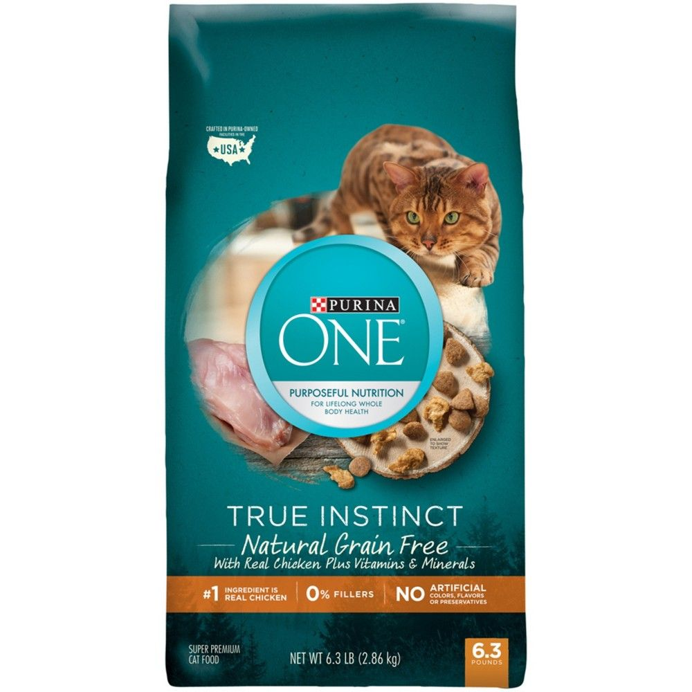 Purina One Natural Grain Free Dry Cat Food True Instinct Grain Free With Real Chicken 6 3lb Bag Dry Cat Food Instinct Cat Food Natural Cat Food