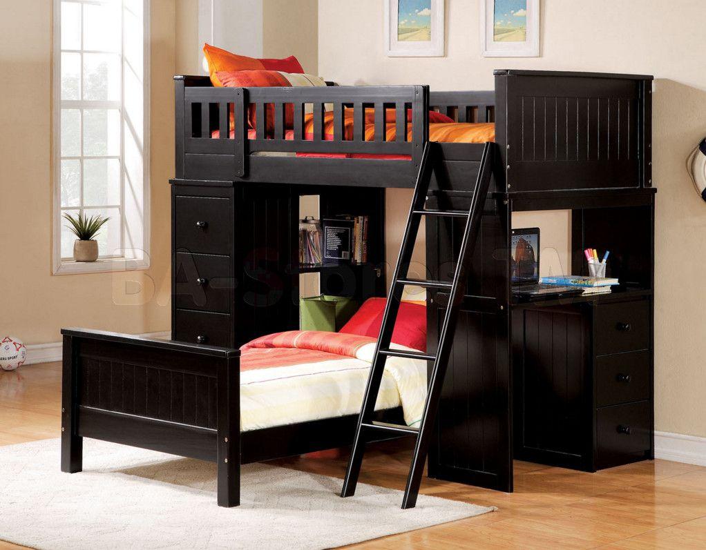 Loft bed with desk cheap  loft bed with desk black  Dream House  Pinterest  Lofts Desks