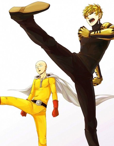 One Punch Man- Tags: Anime, Pixiv Id 4716731, One Punch-Man, Saitama, Genos, Cyborg, Fight Stance