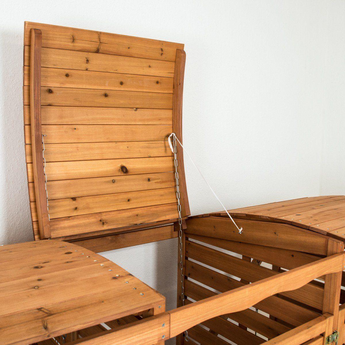 Bezaubernd Mülltonnenbox Aus Paletten Bauen Ideen Von Mülltonnenbox Mit Rückwand Holz Für 3 Mülltonnen