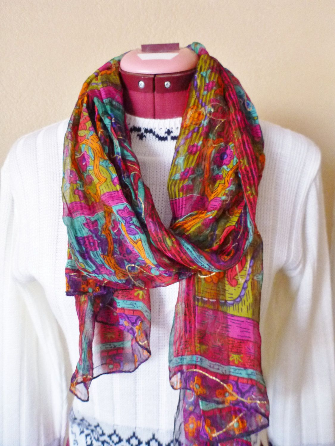 vintage GYPSY WOMAN colorful sheer scarf by june22nd on Etsy, $11.99