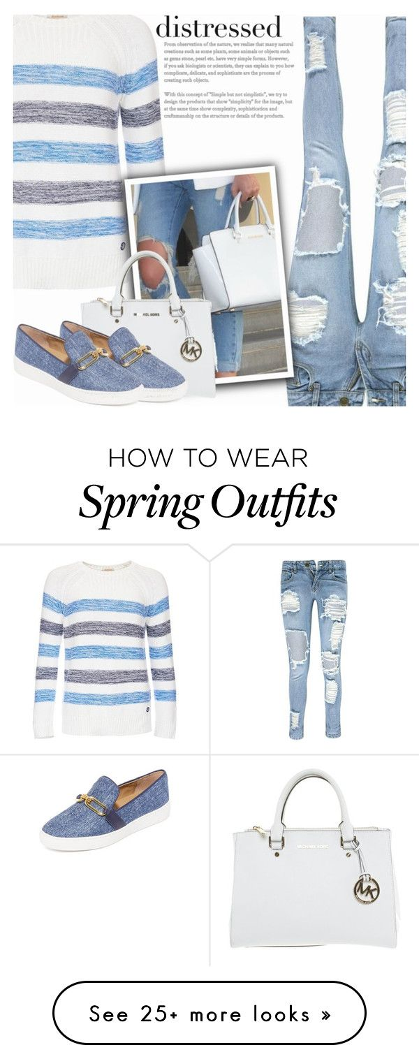 """""""True Blue: Distressed Denim"""" by shoaleh-nia on Polyvore featuring Boohoo, Barbour and Michael Kors"""