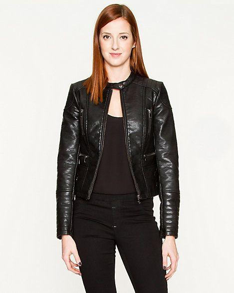 LE CHÂTEAU: Leather-Like Moto Jacket