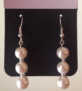 Cool-tone Cream Glass Pearls & Silvery Glass Handmade Earrings