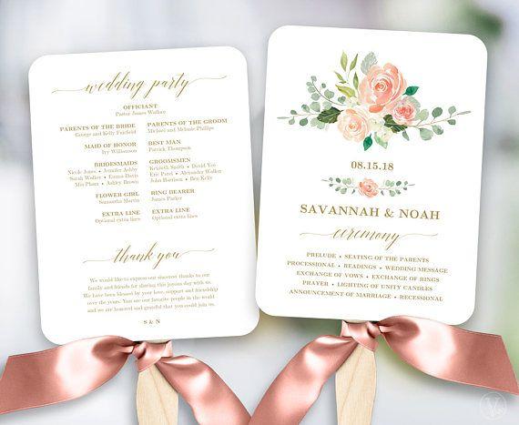 Wedding Program Fan Template.Peach Blush Floral Wedding Program Fan Template Printable