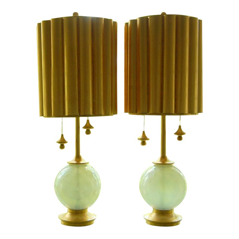 Marbro Murano Opaline Glass Ball Table Lamps White (With