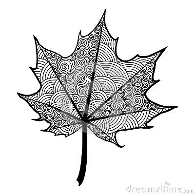 Feuille noire et blanche de zentangle de l rable d arbre dessin feuille noir dessin - Feuille erable dessin ...