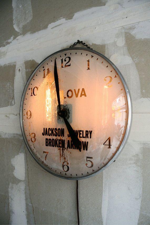 Vintage Industrial Bulova Wall Clock Light Up By Theerabbithole Wall Clock Light Bulova Wall Clock Vintage Clock