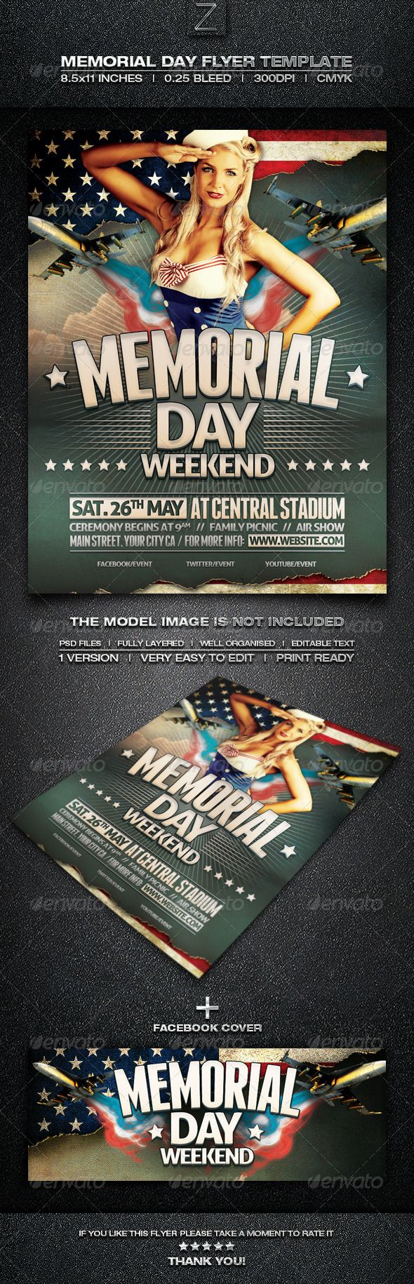 Memorial Day Flyer Template  Photoshop Psd Independence Day