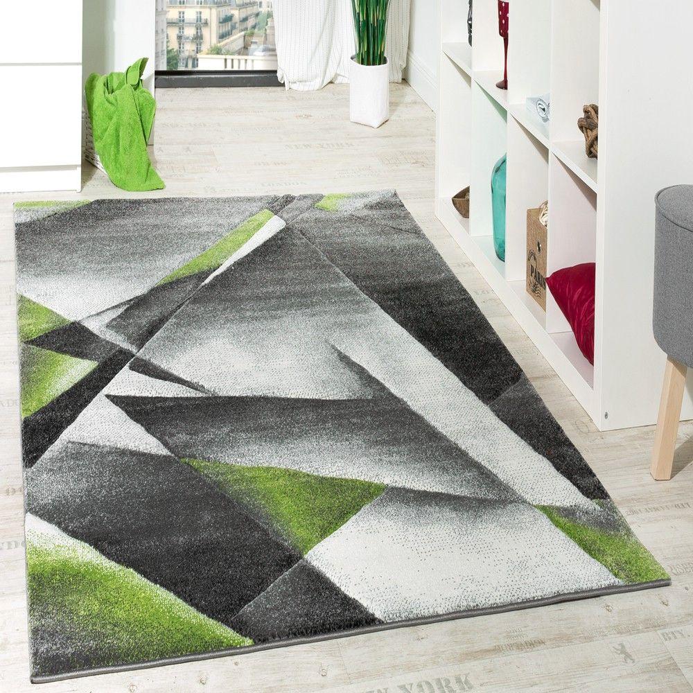 Wohnzimmer Teppich Modern Grau Grn mit Konturenschnitt Malmo Ausverkauf Wohn und Schlafbereich