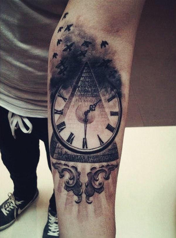 d7185879d51 Cool pyramid clock forearm tattoo