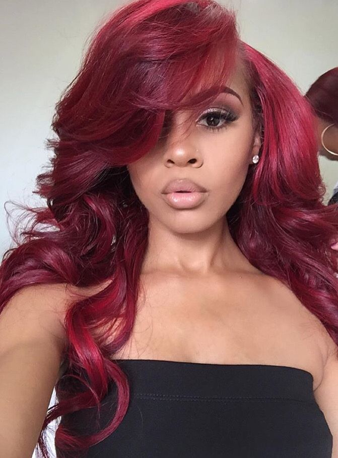 Red Sew In Weave : weave, Hair,, Sew-in,, Weave, Styles,, Hairstyles