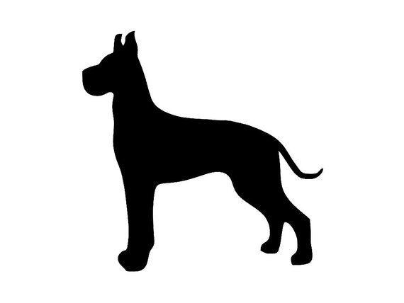Great Dane V3 Cropped Ears Dog Breed Silhouette Custom Vinyl Decal