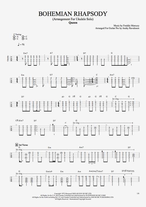 Bohemian Rhapsody - Queen tablature | ♡\'n my Uke | Pinterest ...