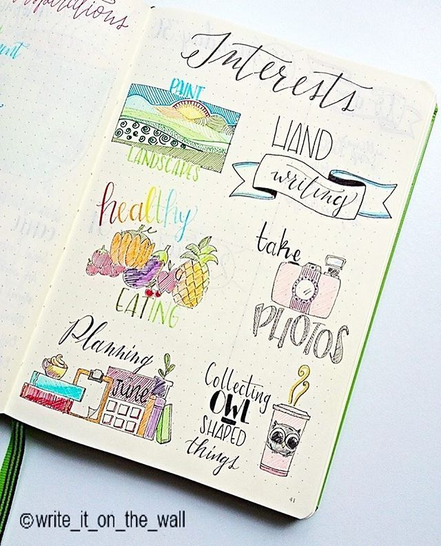 Interests ideas for bullet journal  This is such a great
