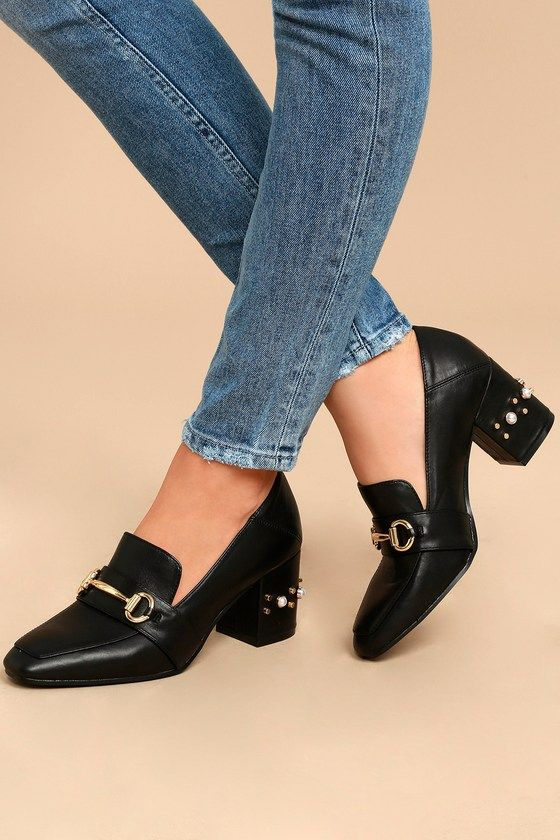 63c5900d94c We are lovin  the retro vibes of the Steven by Steve Madden Layla Black  Leather Block Heels! Buttery