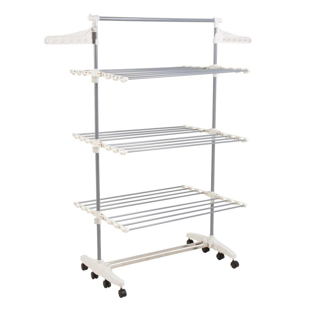 Everyday Home Rolling Stainless Steel Drying Rack 82 Crtr29 The Home Depot In 2021 Laundry Rack Drying Rack Laundry Drying Rack