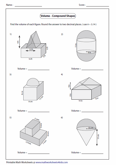 math worksheet : volume of compound shapes lots of worksheets students can print  : Area Compound Shapes Worksheet