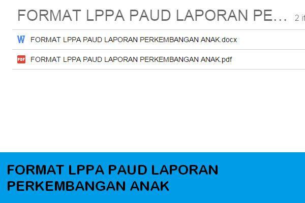 Contoh Format Lppa Laporan Perkembangan Anak Paud Tk Kb Tpa