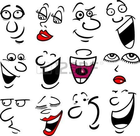 Caras De Dibujos Animados Y Las Emociones Para El Humor O El Diseno De Los Comics Caras Caricaturas Dibujar Caras De Dibujos Animados Ojos De Dibujos Animados