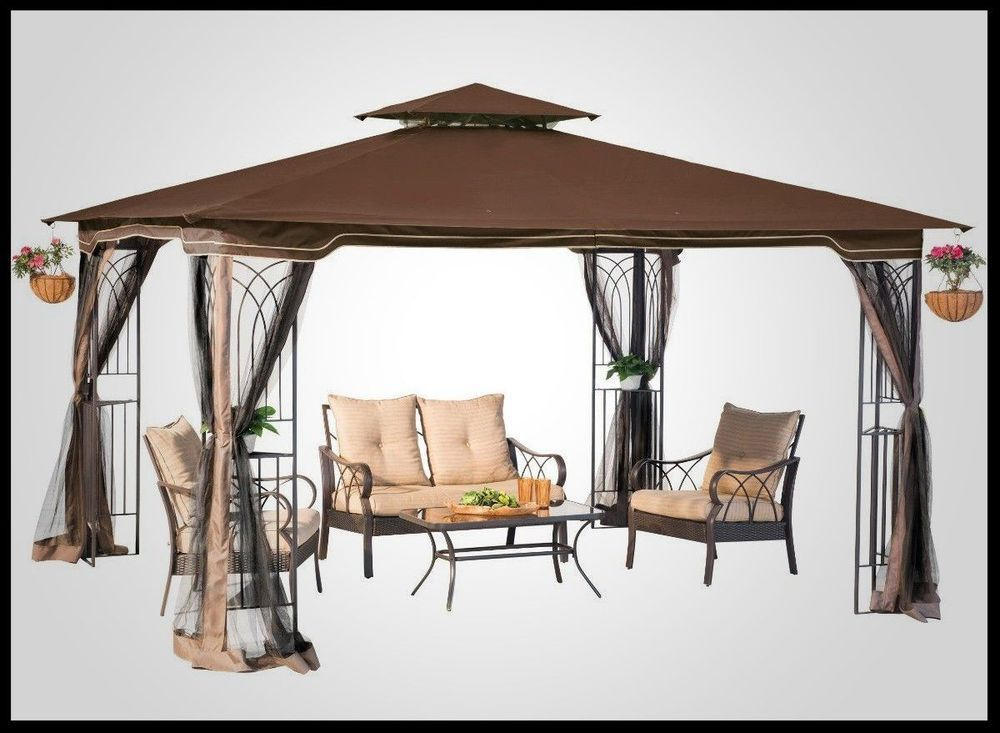 Steel Gazebo Large Pergola Heavy Duty 11 X 13 Patio Metal Frame Canopy Wedding Steelgazebolarge Patio Gazebo Hardtop Gazebo Gazebo