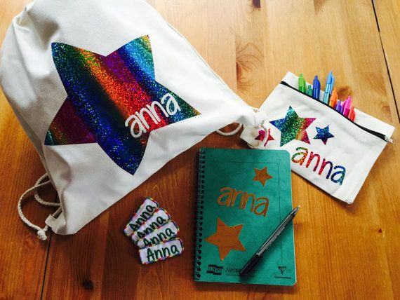 Back to School Kit, Personalised Gym Bag, Personalised Notepad Notebook, Iron on Name Patches, Personalised Rainbow Sparkly Drawstring Bag