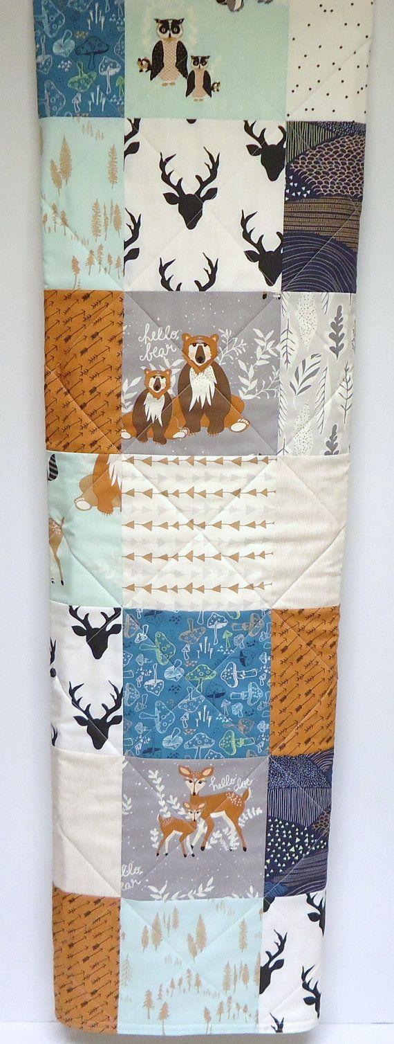 Baby Decken für Jungen, modernen Wald Kinderbett Bettwäsche, Hallo Bär, Reh, Fuchs-Baby-Decke, Kunstgalerie Stoff, grau, Mint, Marine, Pfeile #babyblanket