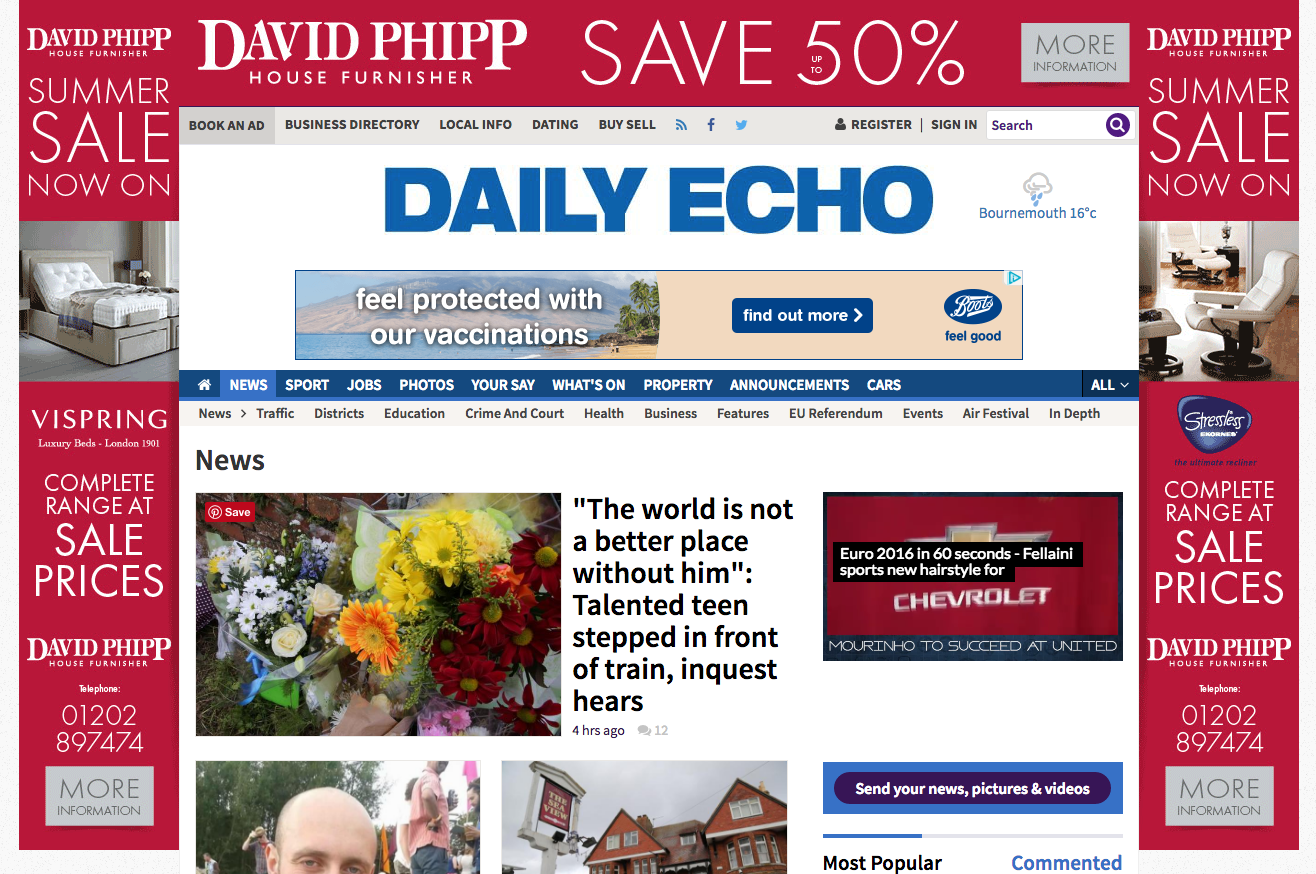Bournemouth Echo - Large fireplace & scrolling ads and many adverts scattered throughout.