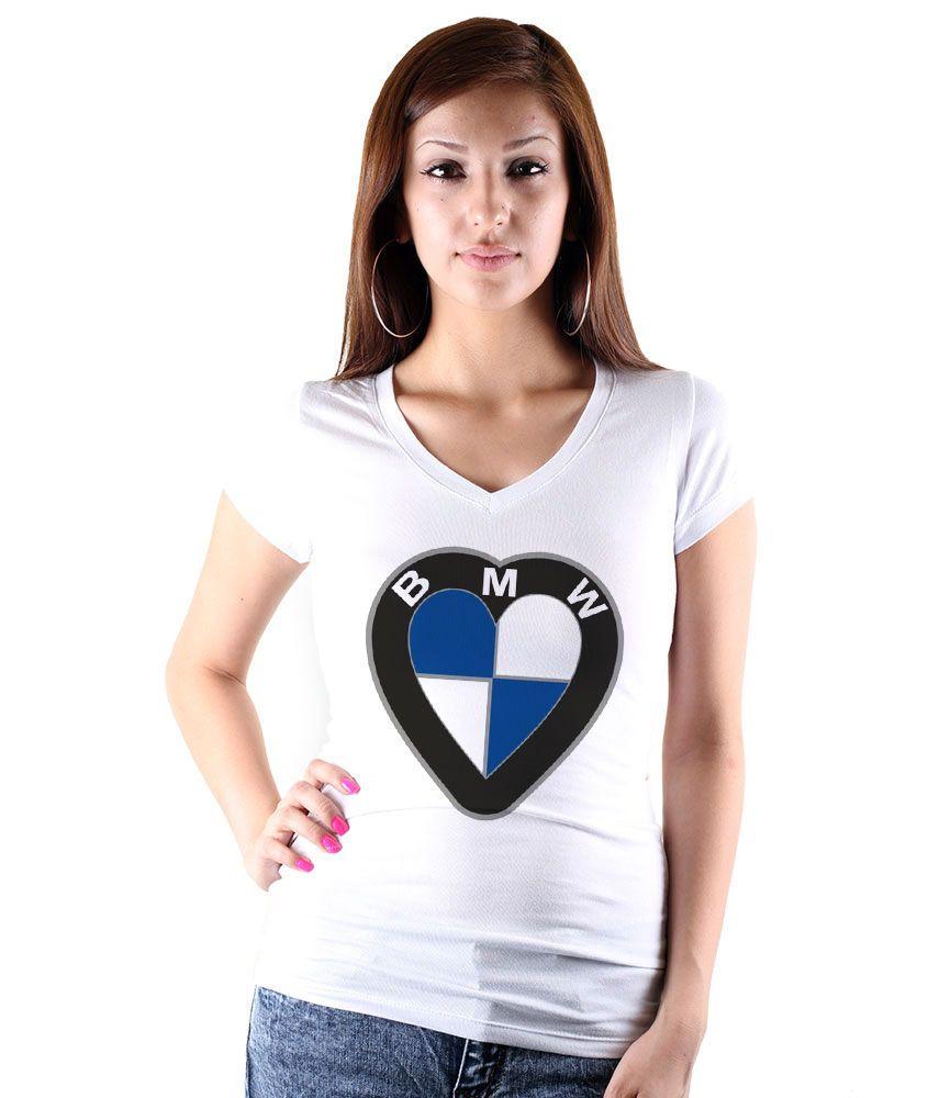 Bmwplain: I Love BMW Women White T-shirt V Neck Women Tee Shirt Car
