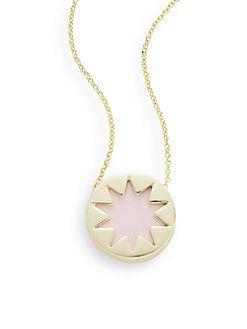 Exclusive Mini Leather Sunburst Pendant Necklace