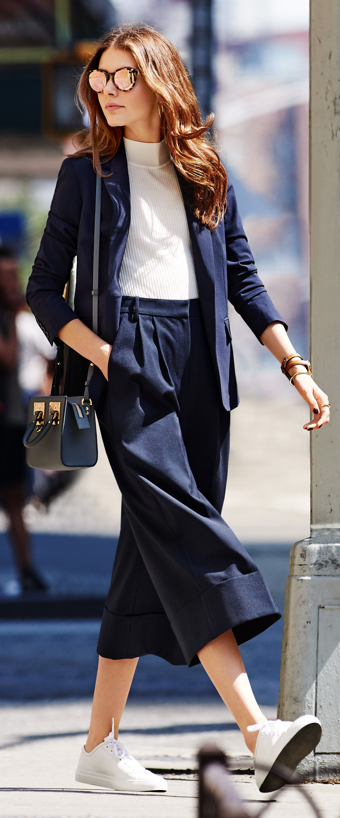 Refresh your 9-to-5 wardrobe! Workwear Style Tip: Modernize a tailored, suit-inspired look with cropped, wide-leg culottes.
