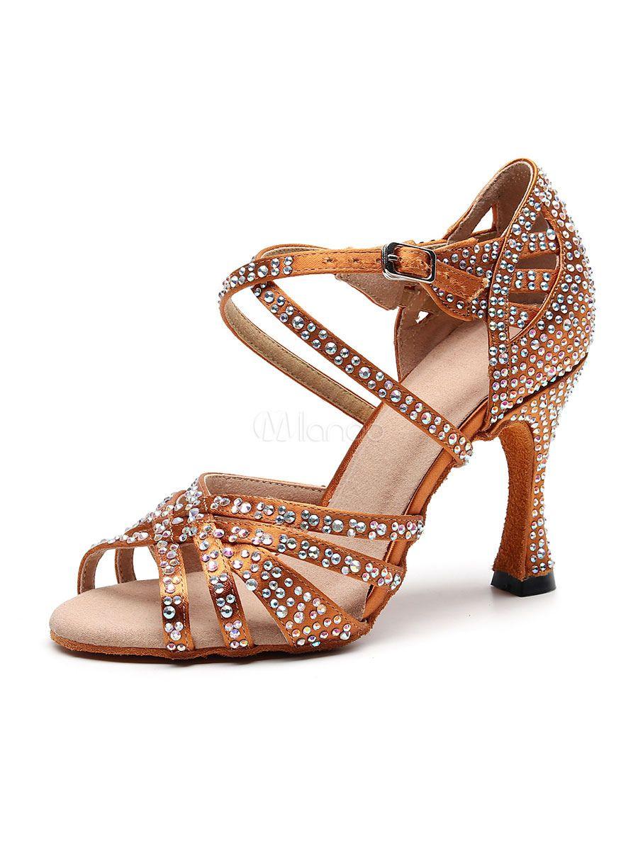 Women S Customized Latin Dance Shoes Satin Open Toe Luxury Rhinestones Ballroom Dance Shoes Latin Shoes Dance Heels Latin Dance Shoes