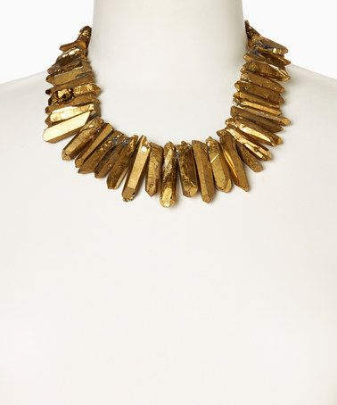 Love this Gold Quartz Shard Necklace by of earth on #zulily! #zulilyfinds
