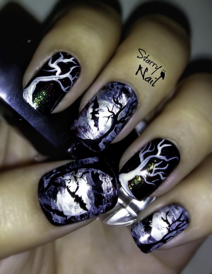 Scary Bats and Full Moon Halloween Nail Art | Art tutorials ...