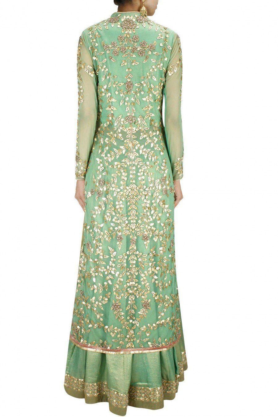 Green gota patti long jacket with foil lehenga and dupatta vintage