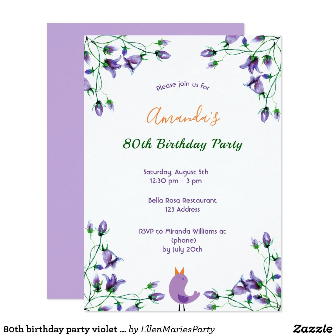 80th birthday party violet florals bluebells white