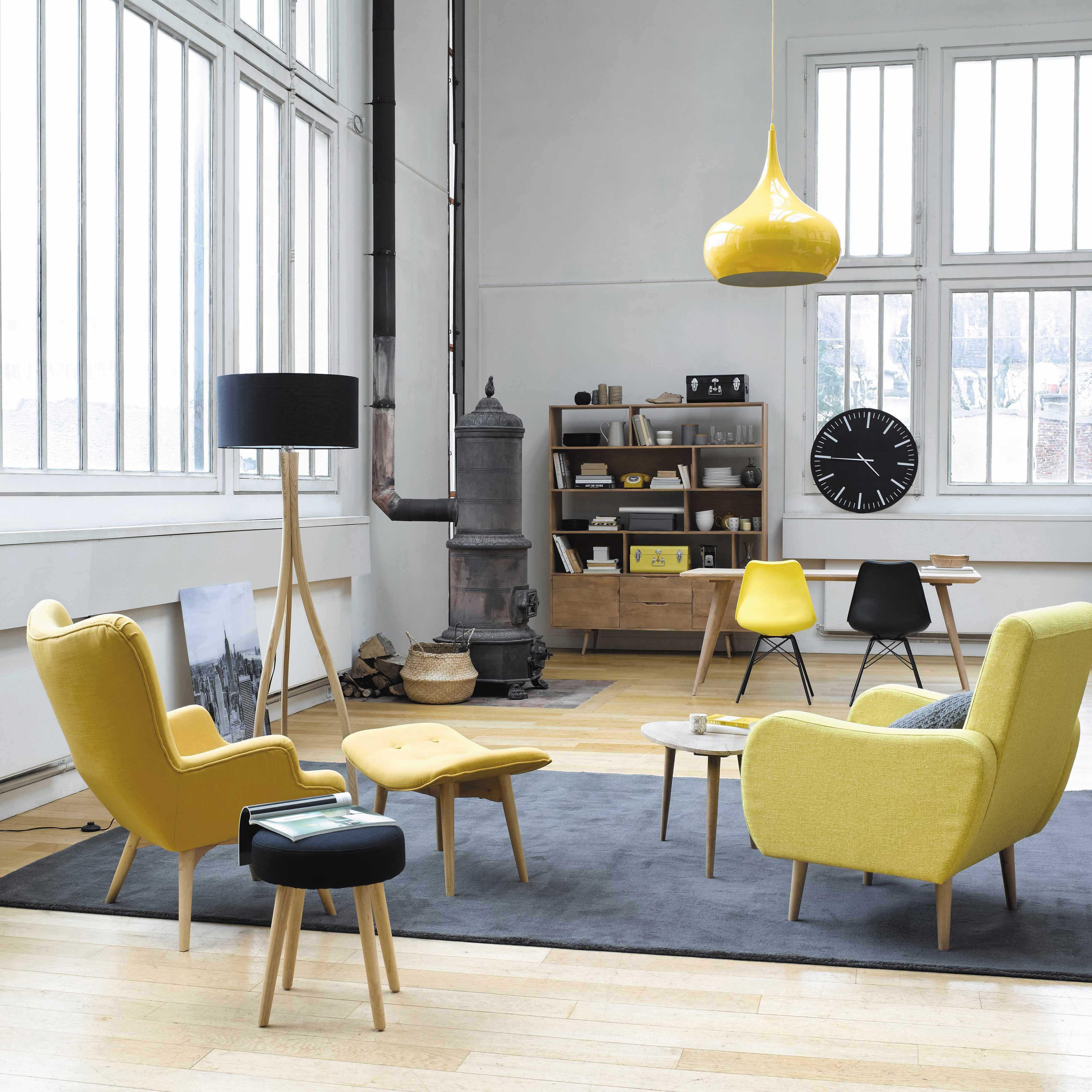 fauteuil vintage en tissu jaune chin waves maisons du. Black Bedroom Furniture Sets. Home Design Ideas