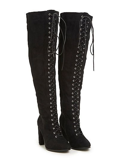 db9bf200932 Lace Up Faux Suede Over the Knee Boots (Wide Width   Wide Calf)Lace Up Faux  Suede Over the Knee Boots (Wide Width   Wide Calf)