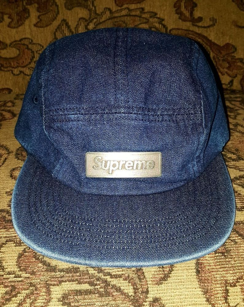 c09f87d29f1 Supreme Metal Plate Box Logo Camp cap Denim Blue  Supreme  Campcap