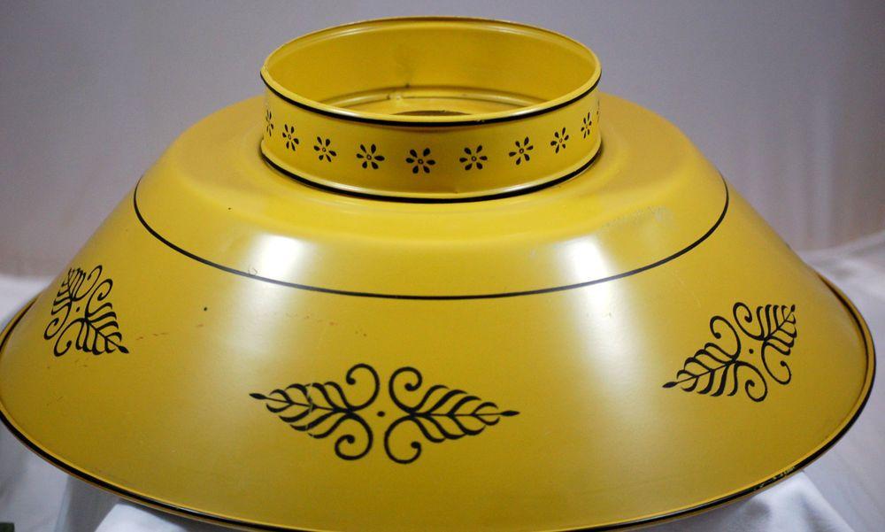 Vintage Mid Century Metal Tole Hand Painted Yellow Hurricane Lamp Shade Hurricane Lamp Shade Hurricane Lamps Lamp Shade