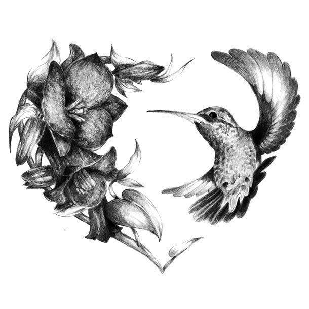 Realistic hummingbird heart tattoo design hummingbird for Hummingbird hip tattoo