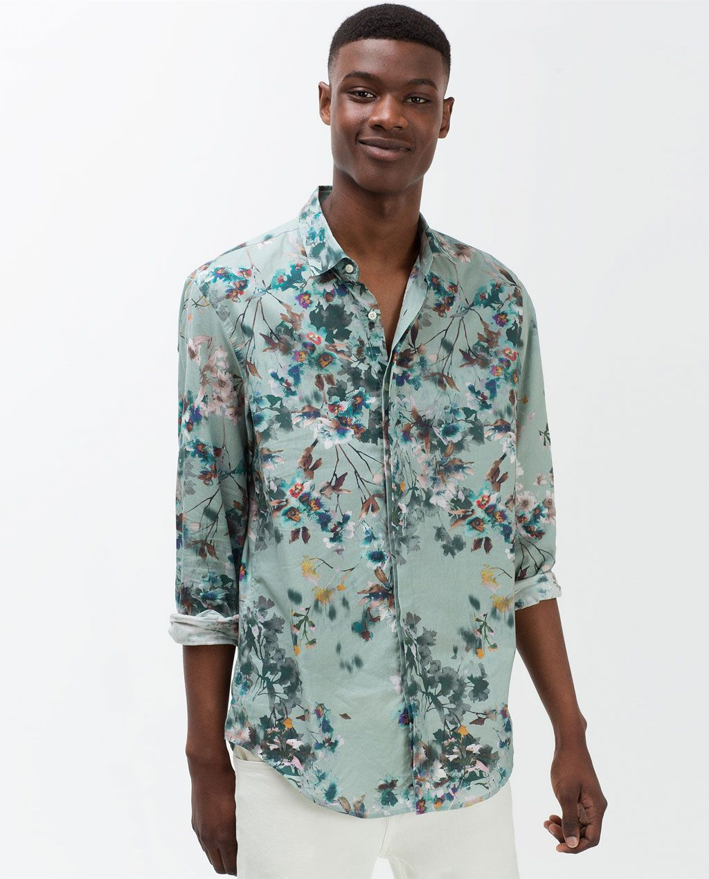 7643003779a Image 1 of PRINTED FLORAL SHIRT from Zara