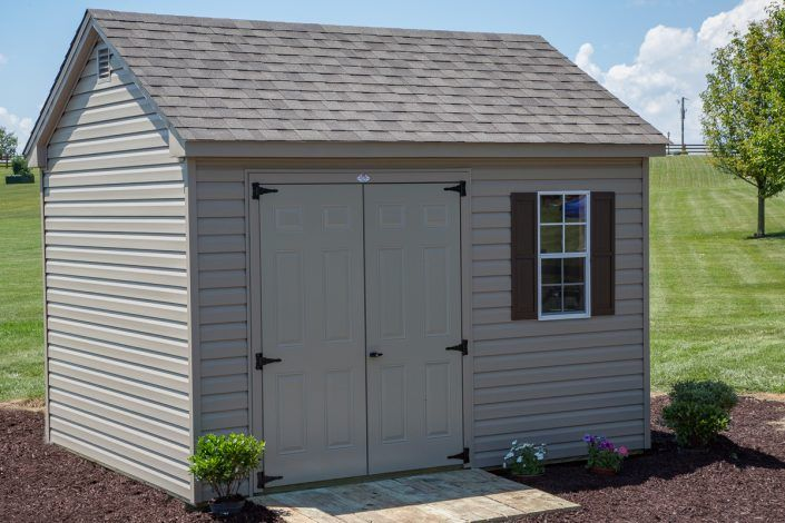 10x12 Storage Building 10x12 Vinyl Shed 7 12 Pitch Roof Byler Barns Vinyl Sheds Built In Storage Shed