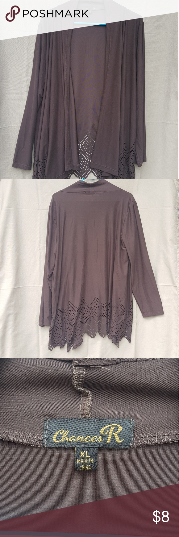 Flowy cardigan with bottom cutout detail Pretty Brown Cardigan ...