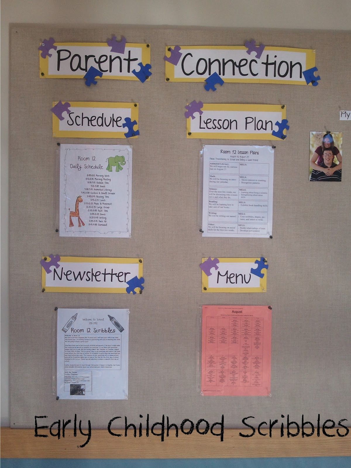 Bulletin Board Ideas Infant Classroom ~ Parent connection board uses puzzle pieces classroom