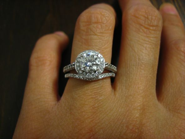 Curved wedding band against 'halo' engagement ring, love!