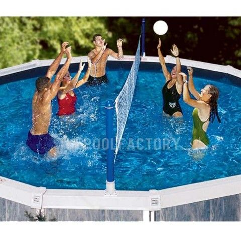 Swimline Cross Pool Volley Above Ground Volleyball Game 9187 Pool Volleyball Net Swimming Pool Games Water Volleyball