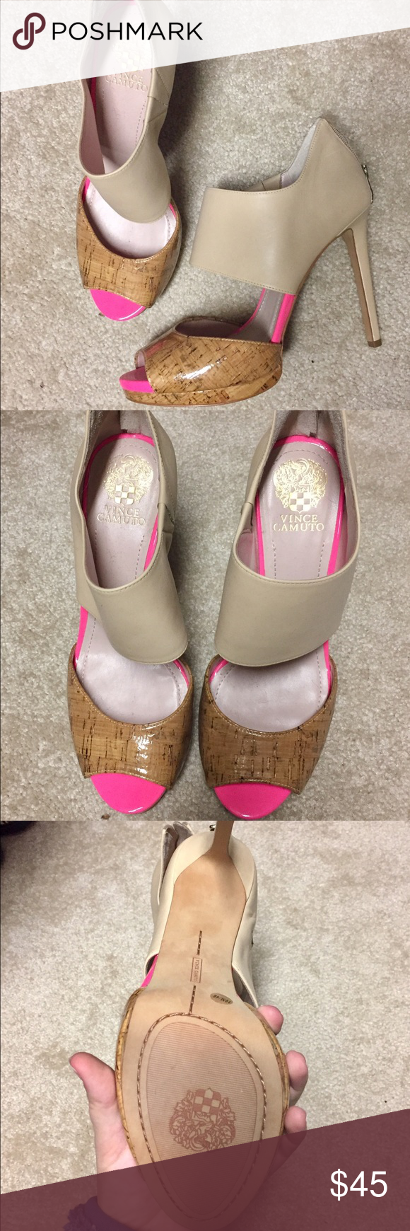 Vince Camuto Tan & Hot Pink Heels Very lightly used (worn once) size 10 Vince Camuto heels with hot pink accent. About a 3.5 inch heel. Vince Camuto Shoes Heels